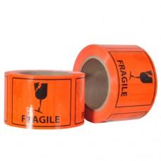 Label - Fragile            Orange\Black 75mm x 96mm 500/Roll