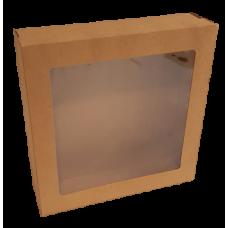Window Box & Lid Kraft SML 225x225x60mm 10/Pack 100/Carton